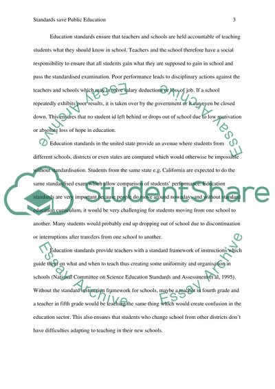 Standards Save Public Education