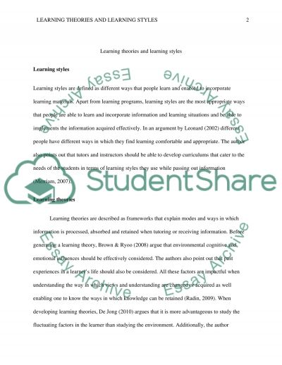 essay on learning styles and theories