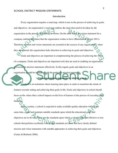 School districts mission statements
