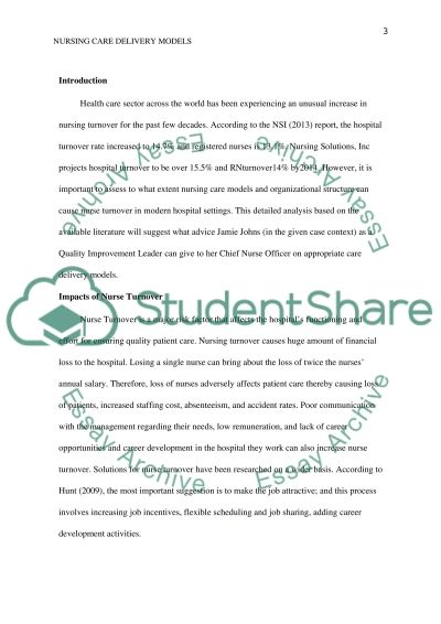 Nursing care delivery models and organizational structure essay example