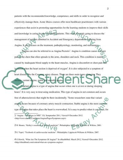 Nursing acutely ill patient essay example