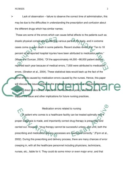Nursing - Medication Errors essay example
