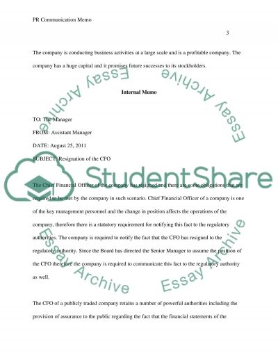 PR Communication Memo essay example