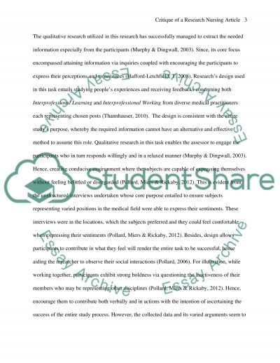 Critique of a research nursing article essay example