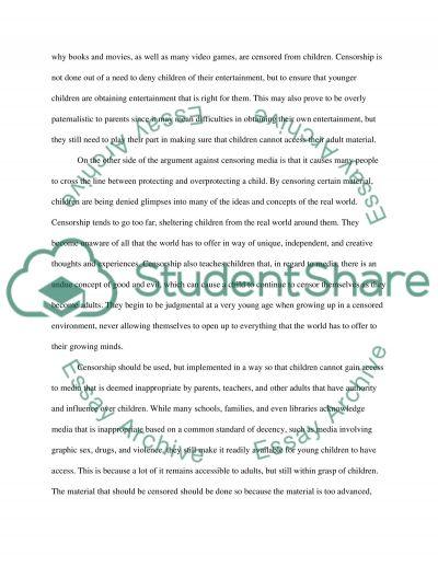 Censorship essay example