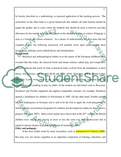 Critically discuss the importance of play pedagogy in the curriculum for young childrens learning and development essay example