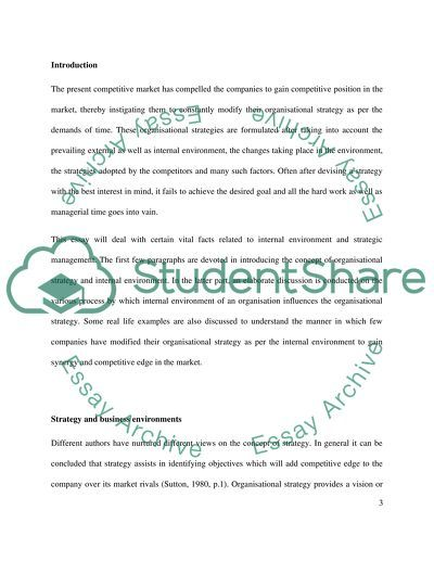 What aspects of an organisations internal environment are critical to the success of an organisations strategy essay example
