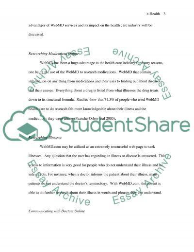 E-Health Program essay example