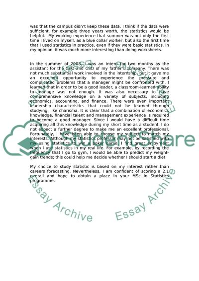 A personal statement for master essay example