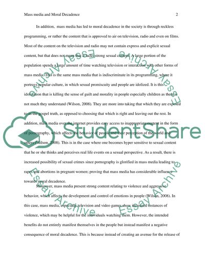 William Shakespeare Essay Is Mass Media A Cause Of Moral Decline Check Your Essay For Plagiarism also 5th Grade Persuasive Essay Topics Is Mass Media A Cause Of Moral Decline Essay Example  Topics And  Internet Or Traditional Classroom Essay
