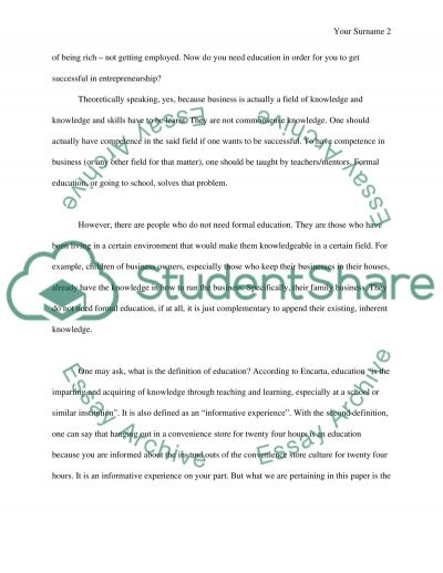 Education is (or is not) the key to sucess essay example