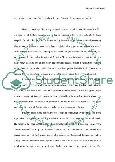 Argument Analysis/Critical Response Paper