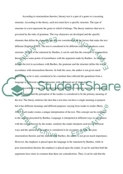 Post structionalism essay