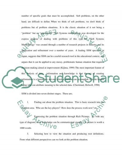 Soft Systems Methodology essay example