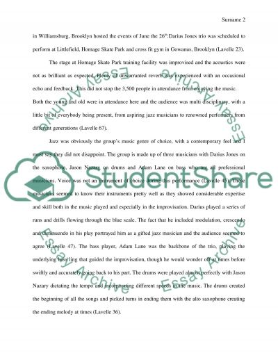 Pop And Jazz Report Guidelines essay example
