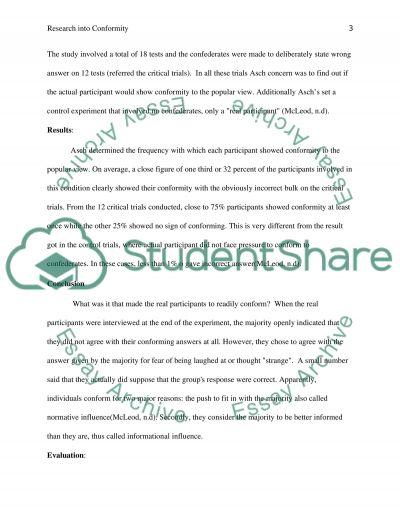 Outline and evaluate research into conformity essay example