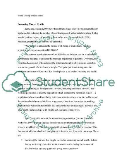 mental health promotion project essay example  topics and well  mental health promotion project