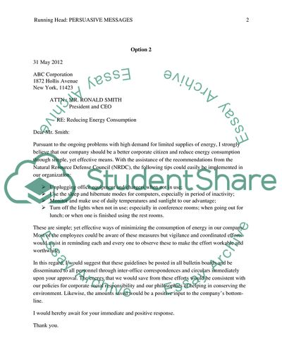Persuasive Messages - letter or memo