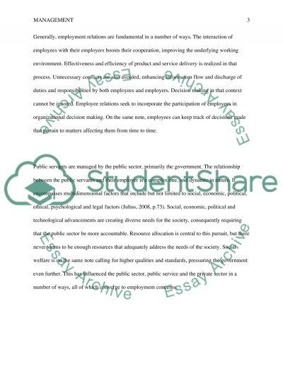 Public Sector Employment Relations essay example
