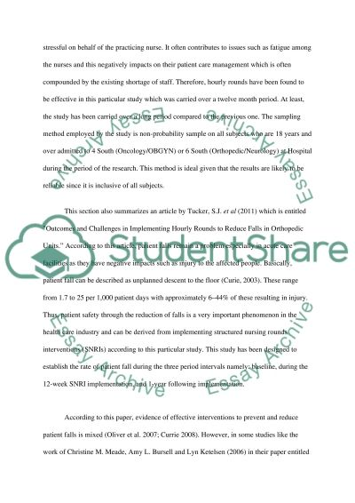 To Outline a Synthesis or Summary of two Quantitative Research Articles about Nursing Rounds essay example