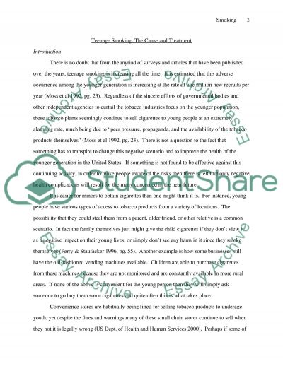 Teenage Smoking: The Cause and Treatment essay example