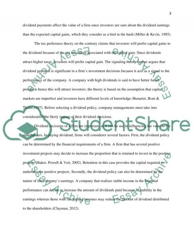 DIVIDEND POLICY essay example