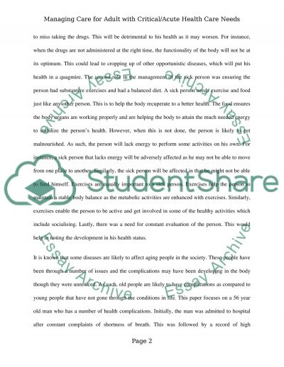 Managing Caring for Adult with Critical/Acute Health Care Needs essay example
