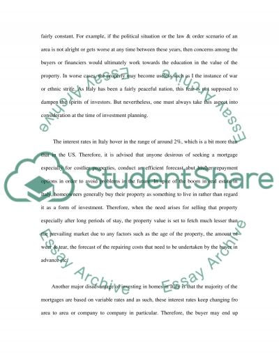Real Estate Investment essay example