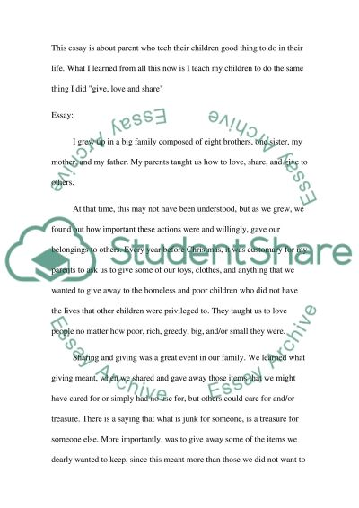 Childhood events about helping others essay example