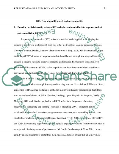 RTI, Educational Research and Accountability essay example