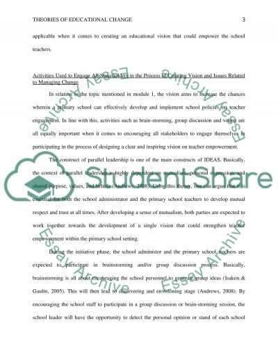 Leading educational change essay example