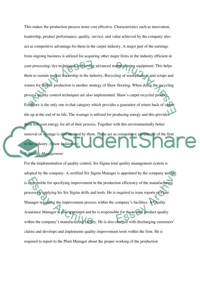 Shaw Flooring Company Analysis essay example