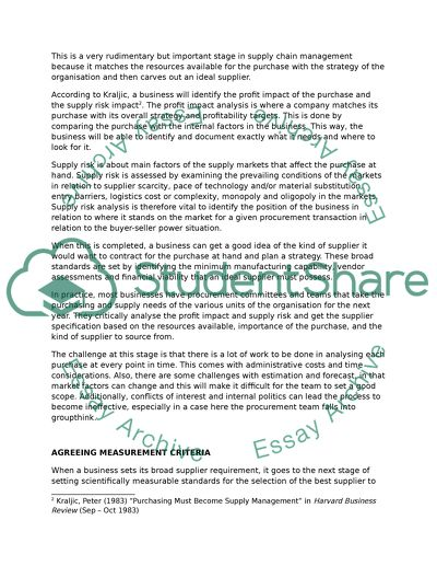 Strategic Supply Chain Management: Supplier Selection Essay