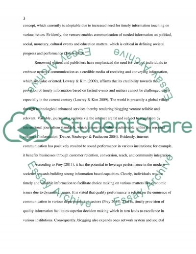 Online Journalism, Mass Media and Communication essay example