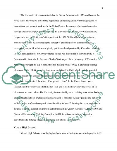 Distance Learning Education Research Paper essay example