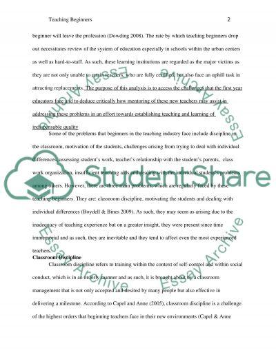 Education - Teaching Beginners essay example