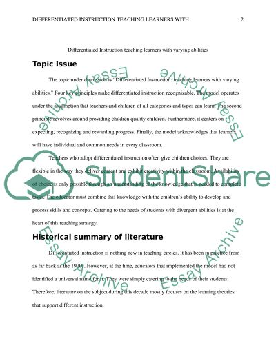 Differentiated Instruction Teaching Learners with Varying Abilities
