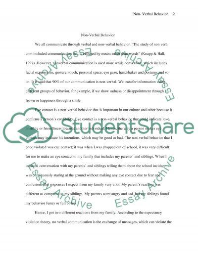 Nonverbal behaviour essay example