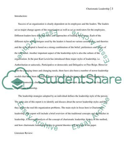 Essay on Charismatic Leadership - Words