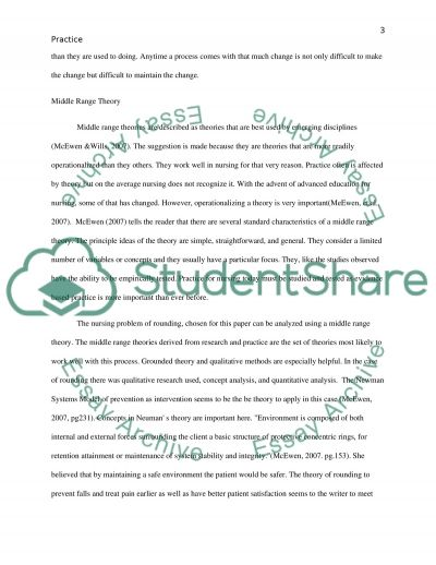 Nursing theory, and application to practice essay example
