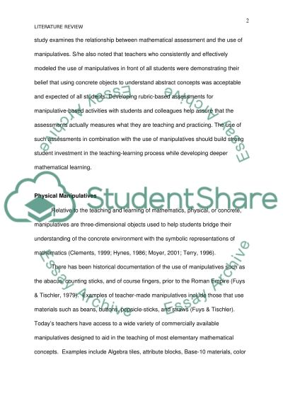 Differences Between Virtual and Concrete Manipulatives essay example