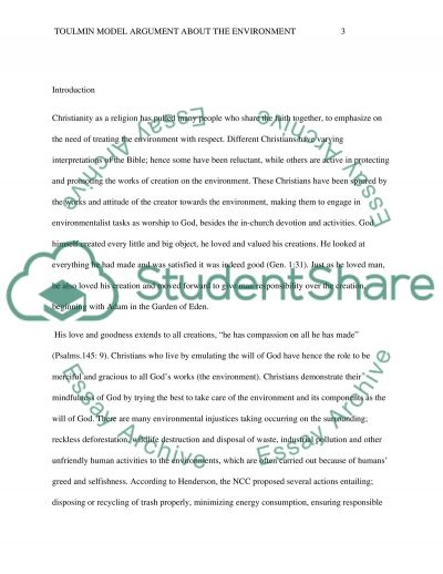 toulmin model argument about the environment essay example - Toulmin Analysis Essay Example