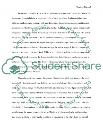 Different Cultures and Different Moral Beliefs Admission Essay example