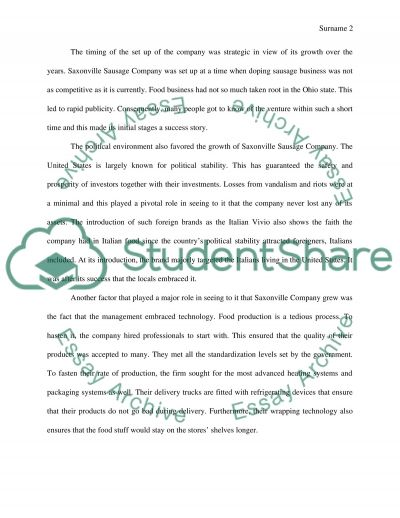 Saxonville Sausage Company essay example
