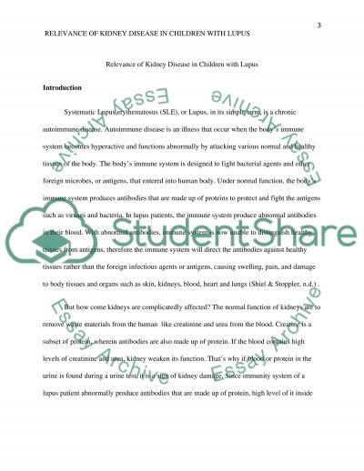 Children with Lupus have a more lethal form of kidney disease essay example