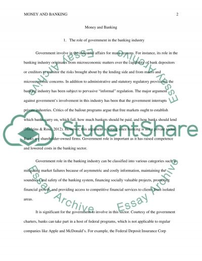 Money and banking essay example