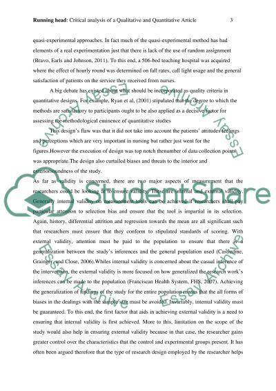 Critical analysis of Qualitative paper essay example