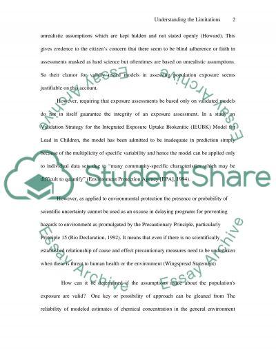Environmental Health Assessment Master Essay essay example