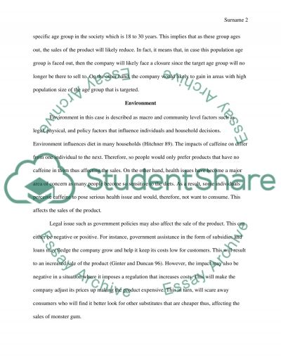 Macroenvironmental Impact on the Company Product Sales essay example