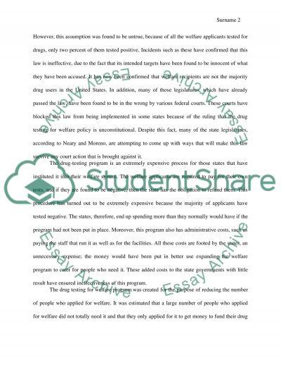 Drug testing on welfare II essay example